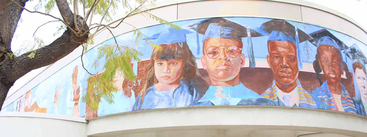 Mural above Watts Library