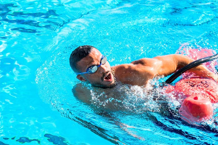 Lifeguard swimming