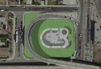 Aerial view of proposed skate park