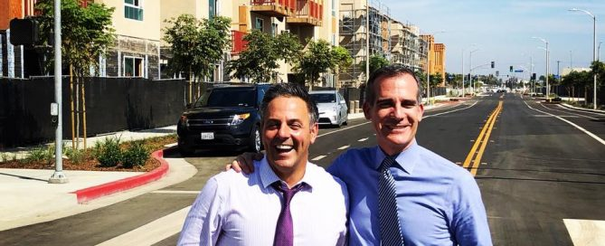 Garcetti and Buscaino at Jordan Downs Century Grand Opening