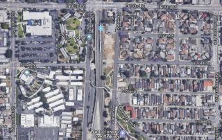 Map of space proposed for development next to Watts blue line station