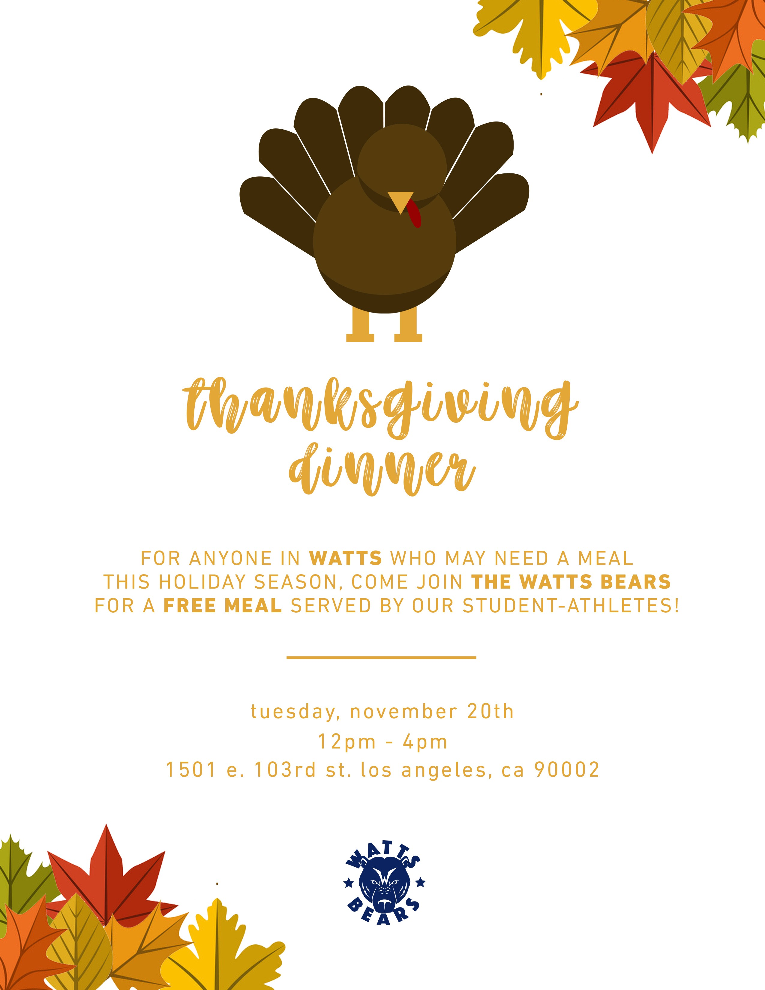Watts Bears serves free Thanksgiving Dinner