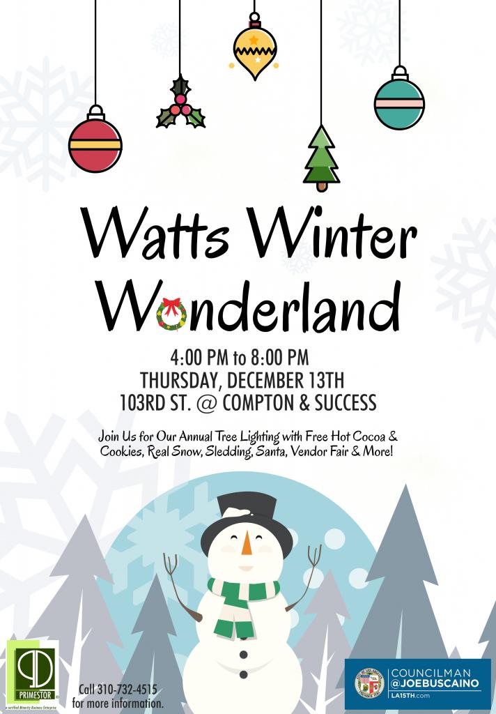 Watts Winter Wonderland Tree Lighting with snow, santa & cookies