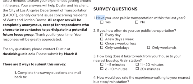 Watts transportation survey