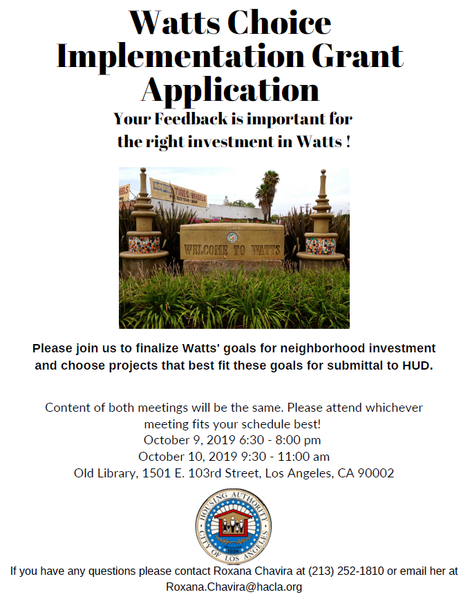 Watts Choice Implementation Grant Meeting
