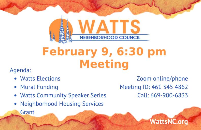 Watts Meeting Announcement