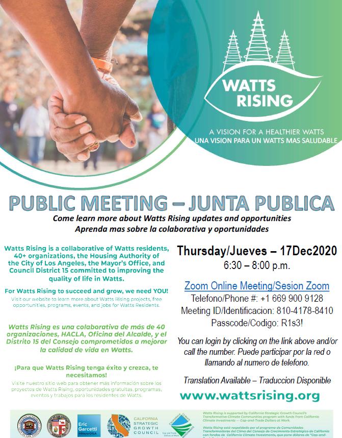 Watts Rising Meeting Announcement