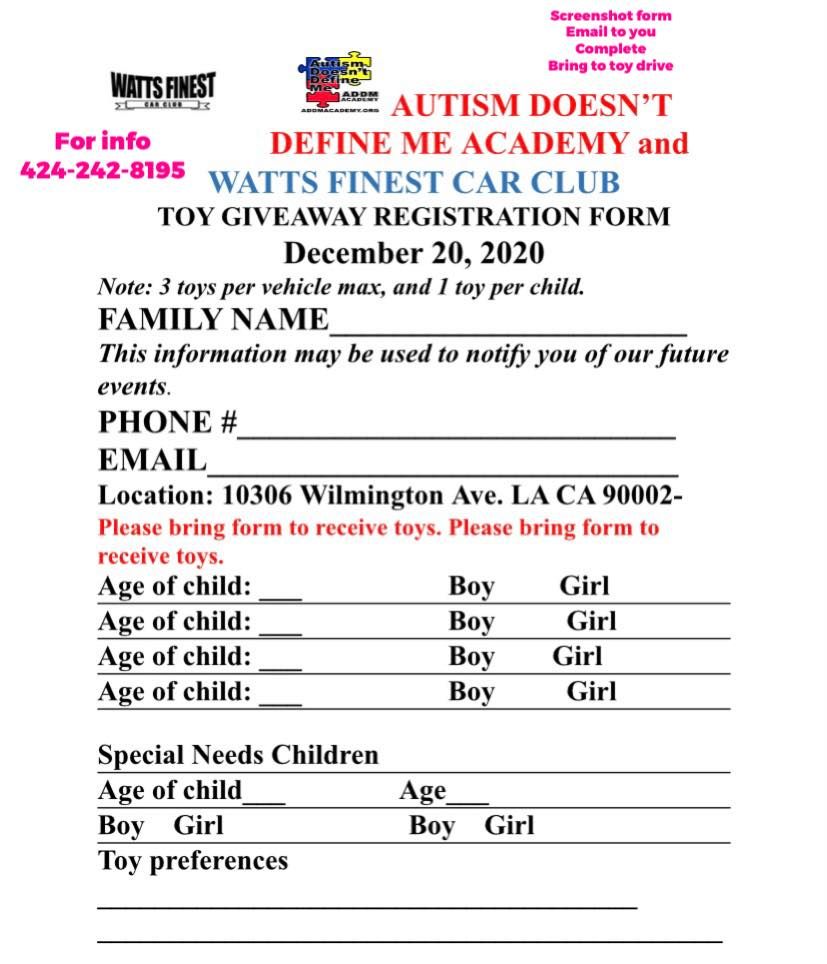 Toy giveaway form