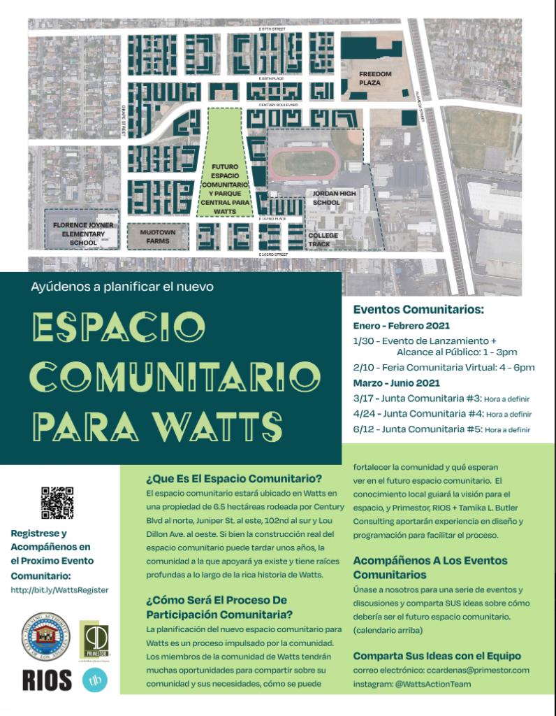 Watts Community Space Event Calendar Espanol