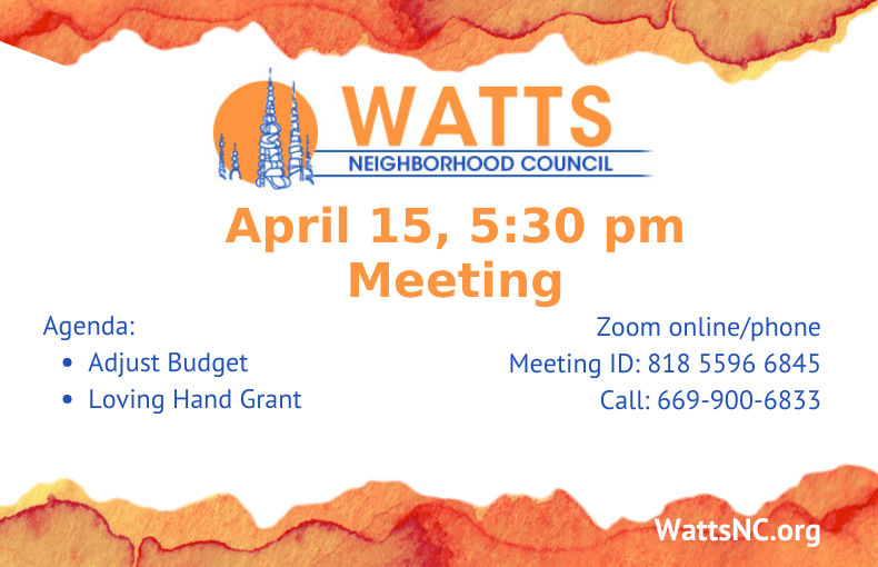Watts Meeting Announcement April 15